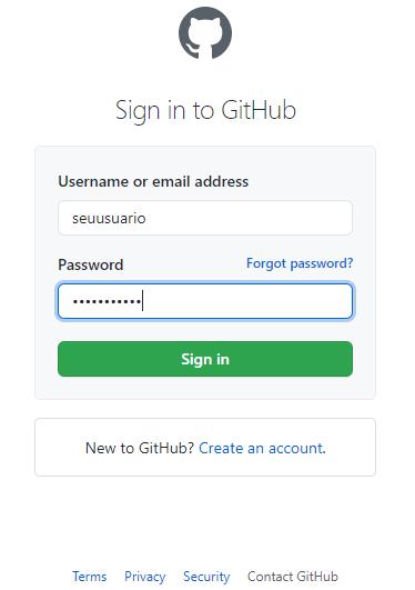 Login do GitHub